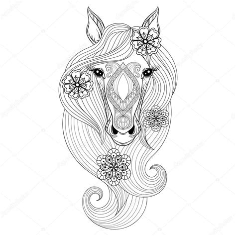 Kleurplaat Horses by Vector Coloring Page With