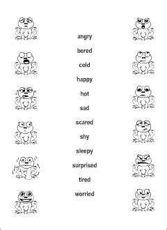 feelings vocabulary for kids learning english matching game