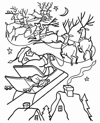Santa Coloring Pages Claus Christmas Printable Reindeer