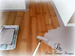 Yes you can paint an old laminate floor lisa39s creative for Can laminate floors be painted