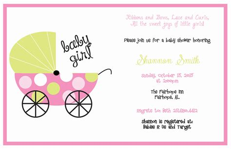 pink  green baby carriage baby shower invitation