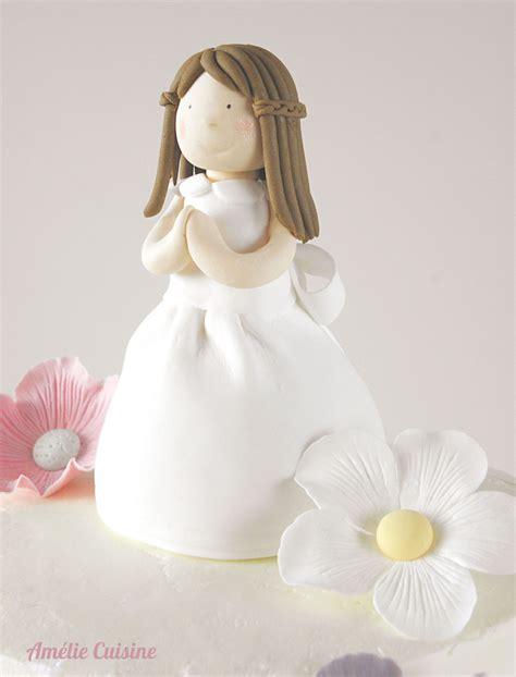 communion cake girl flowers  fondant covered