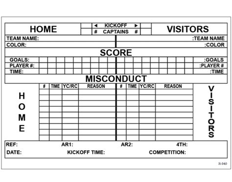 score sheet  soccer