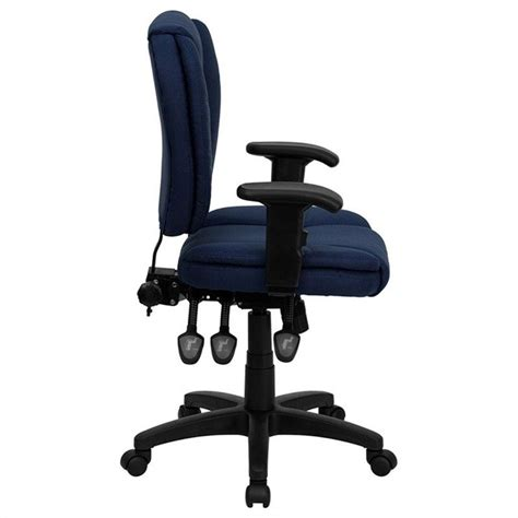 mid back ergonomic task office chair with arms in navy