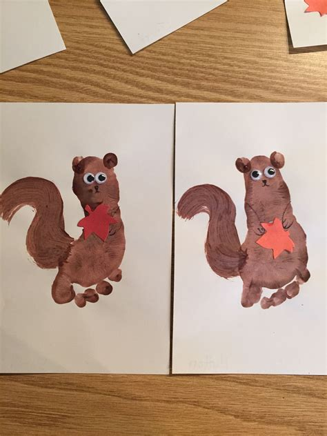 footprint squirrel for classroom november crafts 940 | c26bd1b8a35379a5b1a8473541a561bc