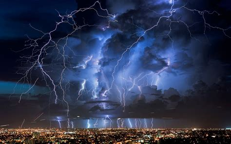 lightning city nature wallpapers hd