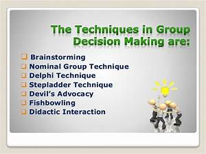 Techniques in group decision making PA report