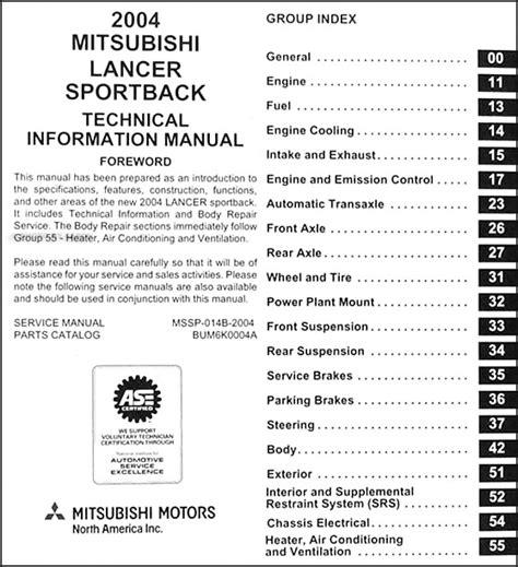 auto repair manual free download 2004 mitsubishi lancer evolution security system 2004 mitsubishi lancer sportback body manual original