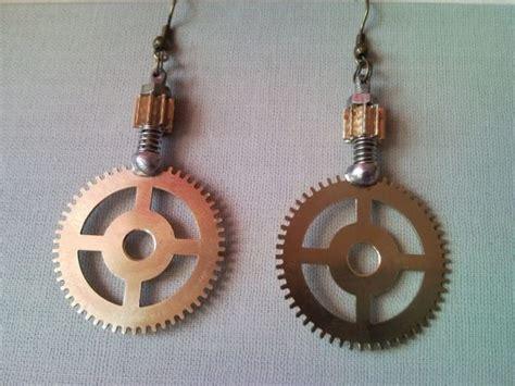 Recycled Steampunk Style Gear Earrings From Clockwork 2