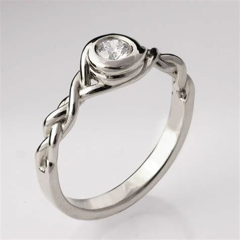 braided engagement ring no 5 14k white gold and diamond engagement ring celtic ring