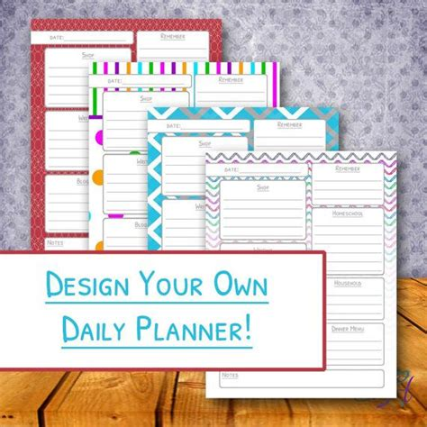 design your own planner design your own printable daily planner the day