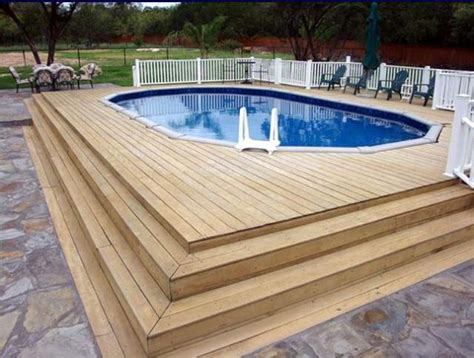 multi level decks around above ground pools landscaping gardening ideas