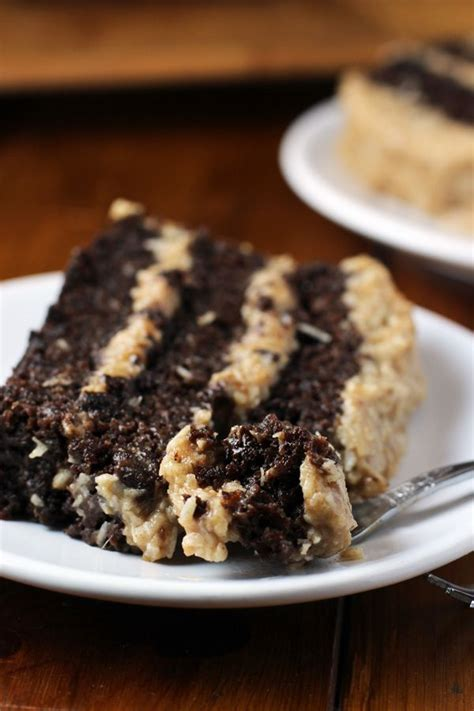 german chocolate cake  healthier coconut frosting