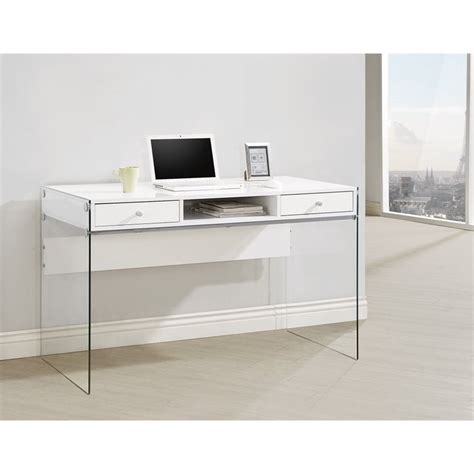 modern white desk with drawers coaster 2 drawer modern computer desk in glossy white 800829