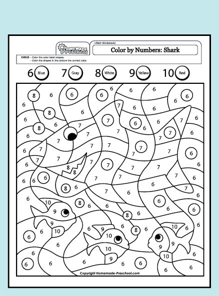 Worksheets Color By Numbers Shark 6 10 Color By Numbers Shark 6 10  Shark  Preescolar, Números