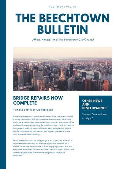 dark blue  white simple modern newsletter templates