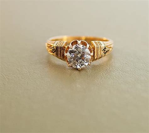 Etruscan Diamond Ring  Rose Gold And Diamond Engagement Ring