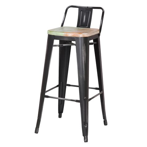 joveco  inches distressed metal bar stool