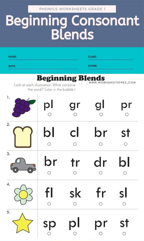 beginning consonant blends phonics worksheets grade