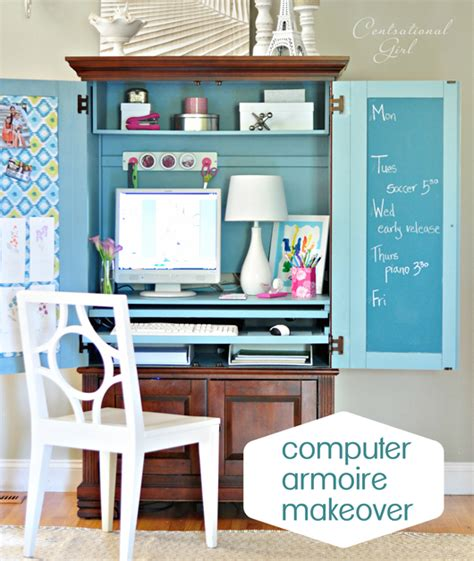 computer armoire makeover centsational