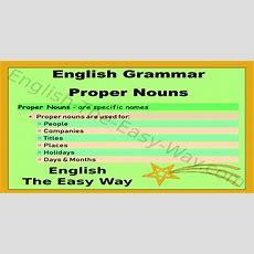 Proper Nouns  English Grammar  English The Easy Way