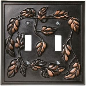 amerelle leaf 2 toggle wall plate aged bronze 85ttvb