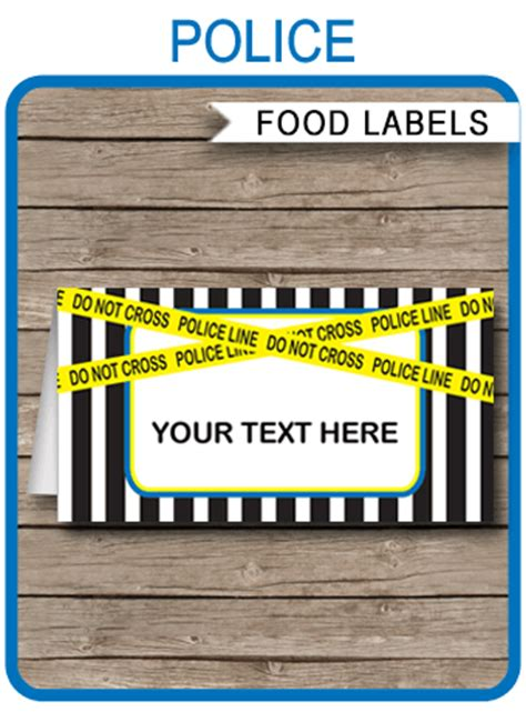 police theme food labels place cards police birthday party