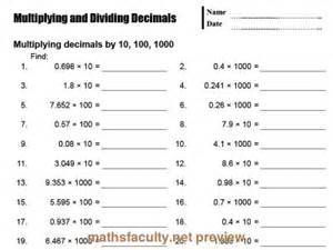multiply decimals by 10 and 100 worksheet preview of multiplying and dividing decimalsa basic drill sheet for multiply and dividing