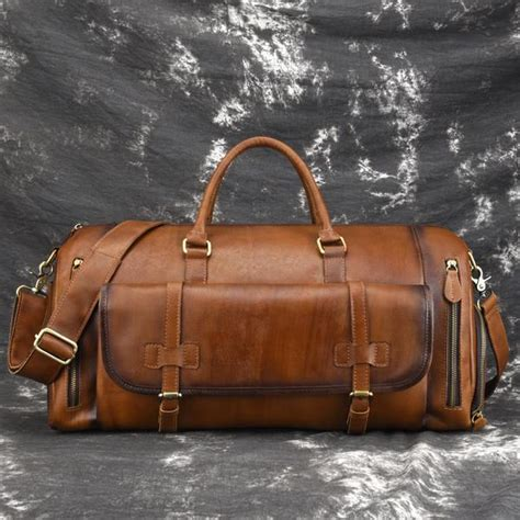 cool brown leather mens overnight bag travel bag duffel bag weekender iwalletsmen
