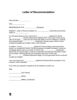 Free Military Letter of Recommendation Templates - Samples