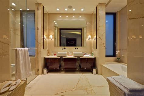 fancy beige marble bathroom decoration with cool lighting