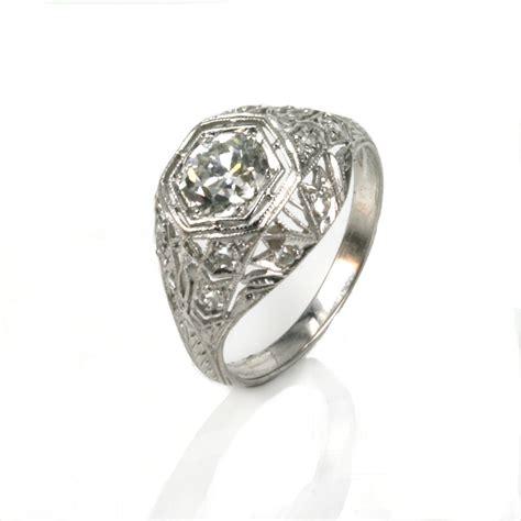 art deco diamond engagement ring made in platinum