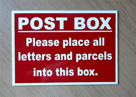 Post Box Sign For Letters And Parcels. Plastic Indoor