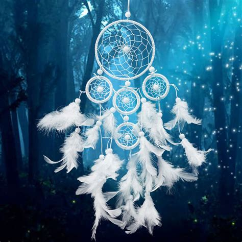 white dreamcatcher wind chimes indian style pearl feather pendant dream catcher gift in wind