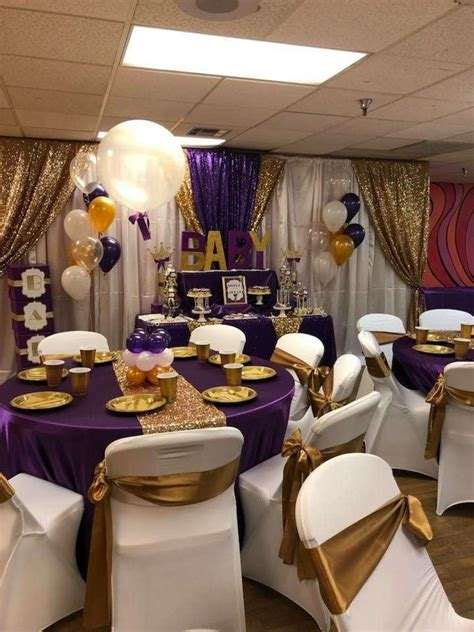 afro puff purple gold baby shower baby shower party