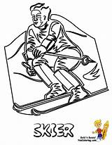 Coloring Ski Winter Sports Hill Print Down Racer Skier Yescoloring Sheet Olympic Freeze Olympics sketch template