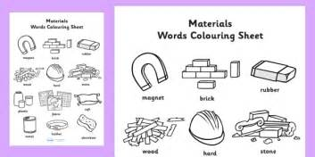 materials words colouring sheet materials colouring