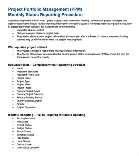 monthly management report template  documents