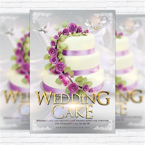 wedding cake premium flyer template facebook cover