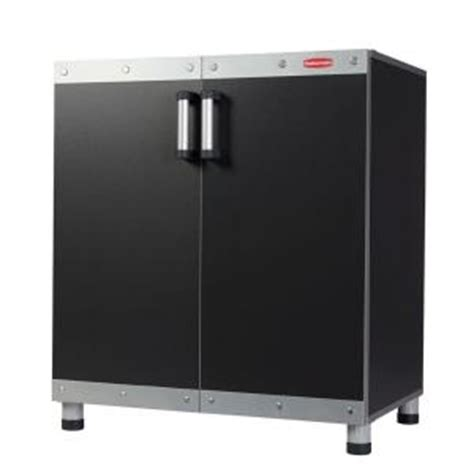 Rubbermaid Storage Cabinets Home Depot by Rubbermaid Fasttrack 30 In Garage Base Cabinet In Black