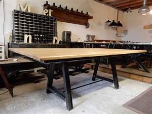 Table Plateau Bois : table industrielle 220 cm x 120 cm pieds en acier geonancy design ~ Teatrodelosmanantiales.com Idées de Décoration