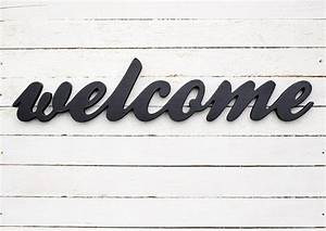 welcome sign wooden decor script letters custom colors With wooden letters for door signs