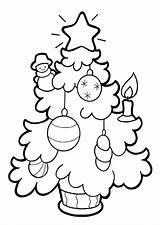 Tree Coloring Printable Chrismas Holidays sketch template