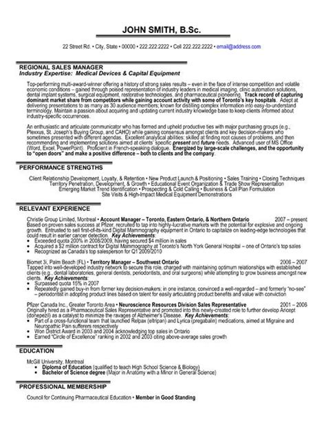 Professional Resume Sles In Word Format by A Professional Resume Template For A Regional Sales