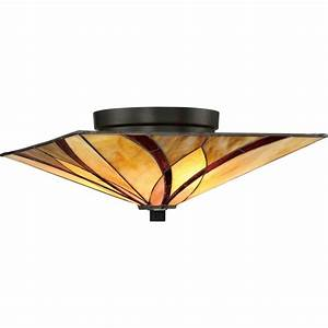 Flush tiffany ceiling light with amber and red art glass shade