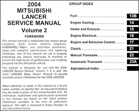 auto repair manual free download 2004 mitsubishi lancer evolution security system 2004 mitsubishi lancer repair shop manual original 4 volume set