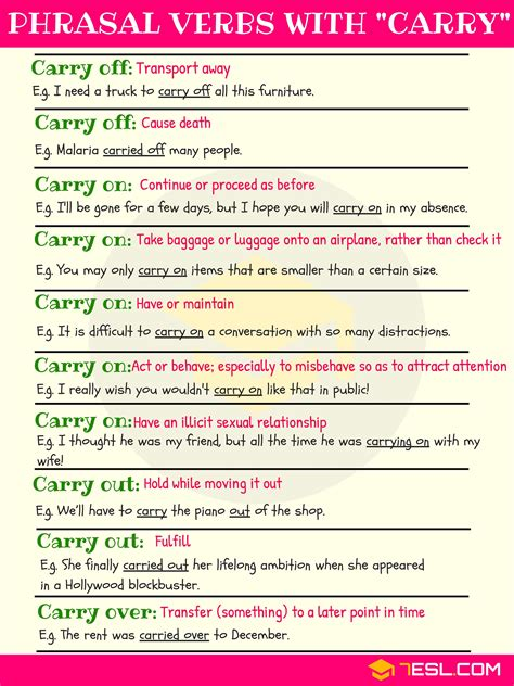phrasal verbs  carry