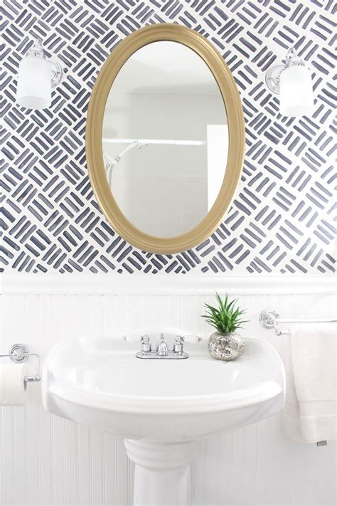 small bathroom makeover  full     handed wallpaper  paint