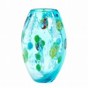Blue Floral Glass Vase Wholesale at Eastwind Wholesale