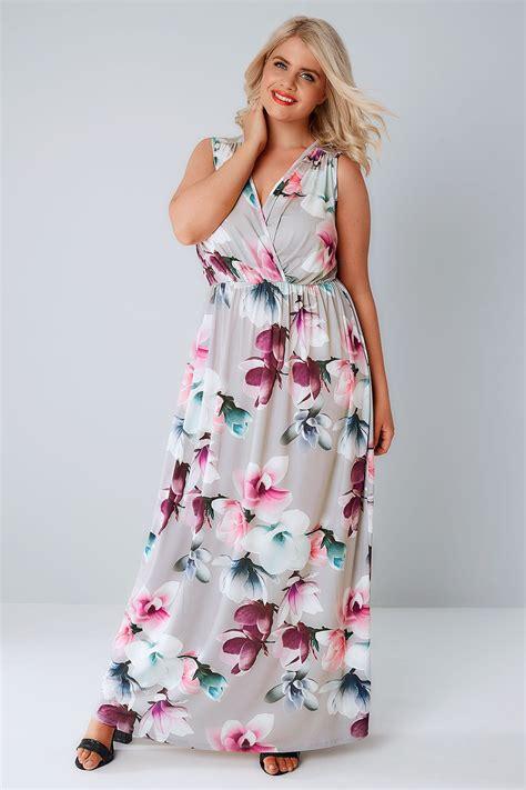 print dress maxi grey floral wrap stretch front slinky manual plus